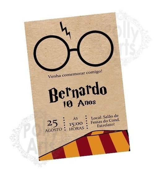 Arte Convite Digital Virtual Harry Potter