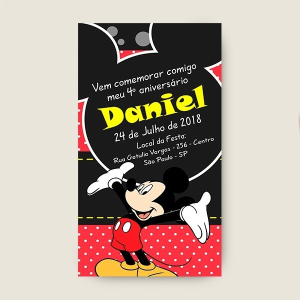 Arte Convite Virtual Do Mickey Mouse