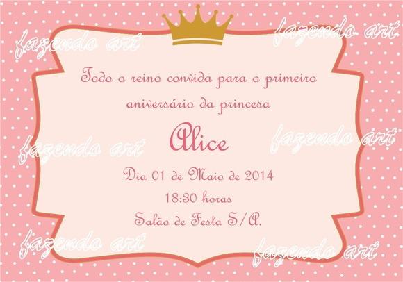 Arte Digital Convite Princesa Rosa No Elo7