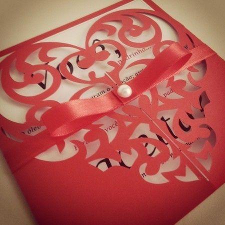 Convite Com Envelope Janela Coração Rendado 15x15