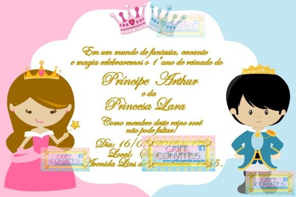 Convite Principe Princesa