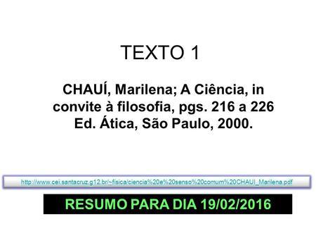 Resumo Do Texto De Marilena Chaui Trabalhos Acadêmicos