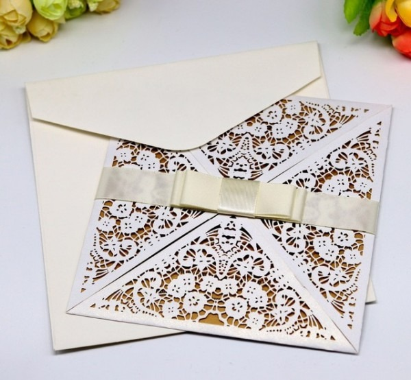 Cartões De Convite De Corte A Laser 3d Diy Rústico Envelope