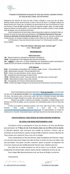 Carta Convite Para Xi Romaria Do Terço Dos Homens