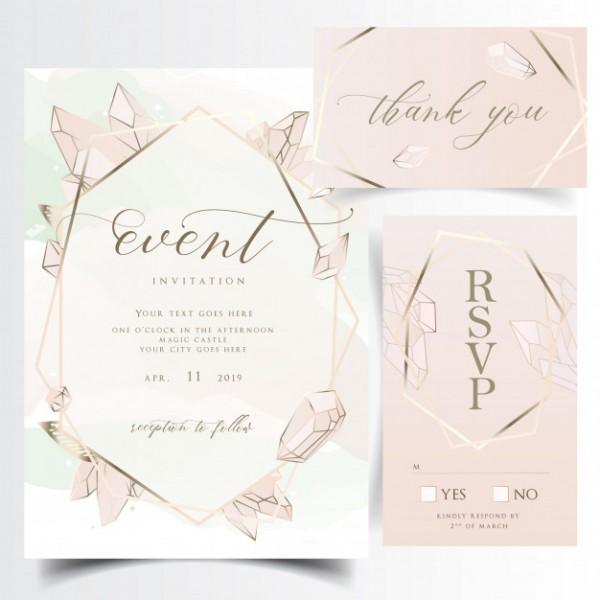 Cartão De Convite De Casamento Floral Geométrica Com Pedras