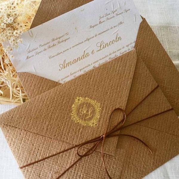 Convite Casamento Rustico Kraft Linhão Em9074