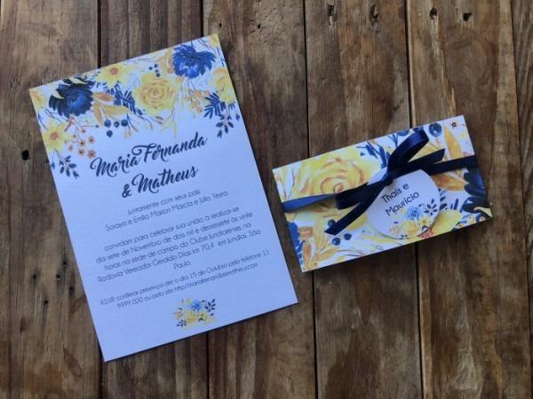 Convite De Casamento Diy Azul E Amarelo