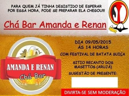 Convite Do Meu Chá Bar   Boteco