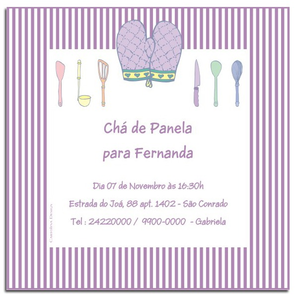 Convite Chá De Panela Lilás Listras