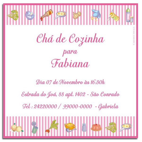 Convite Chá De Panela Pink Listras