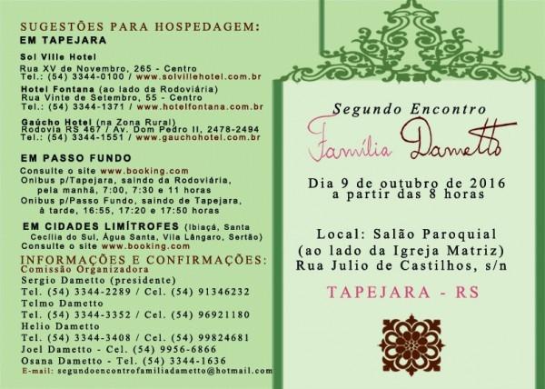Segundo Encontro Da Família Dametto – Convite