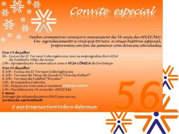 Convite  56 Anos Apcef Ma