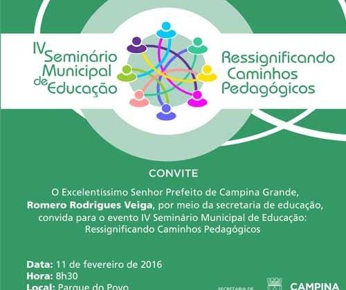 Convite Para Iv Seminário Municipal De Educação