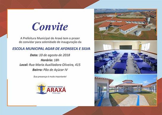 Convite  Inauguração Escola Municipal Agar De Afonseca E Silva