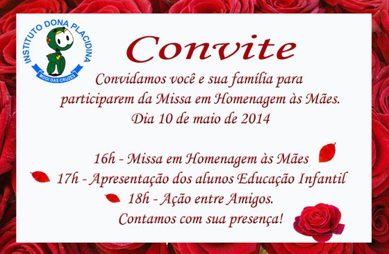 Convite Missa Em Ação De Graças Ao Dia Das Mães