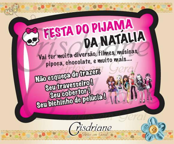 Convite Almofada Monster High Turma No Elo7