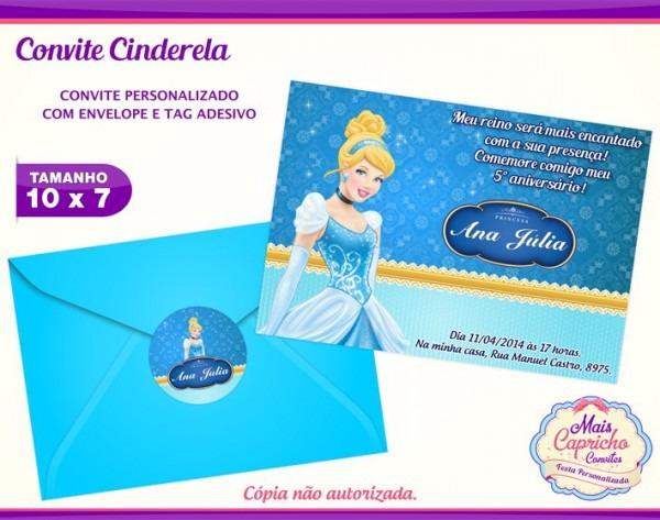 Convite Aniversário Infantil Cinderela No Elo7