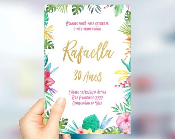 Convite Aniversário Tropical Floral