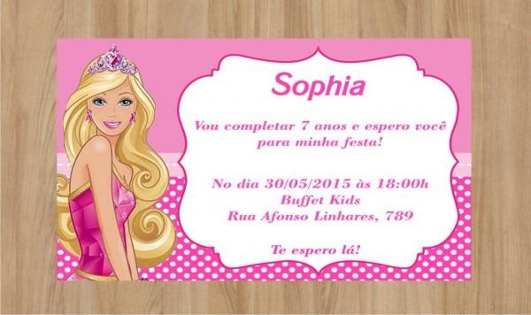 Convite Barbie Frete Grátis No Elo7