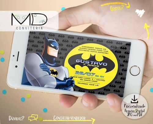 Convite Batman Arte Digital Personalizado