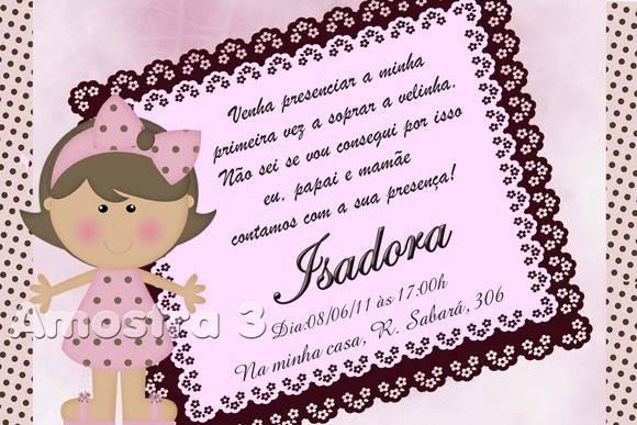 Convite Boneca Marrom E Rosa No Elo7