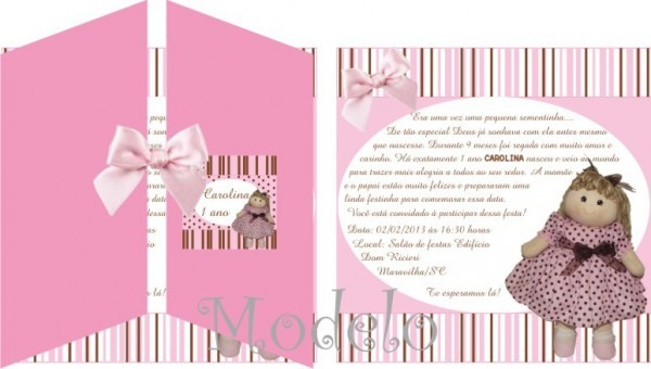 Convite Boneca Rosa E Marrom No Elo7