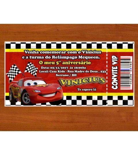 Convite Carros Da Disney Ingresso