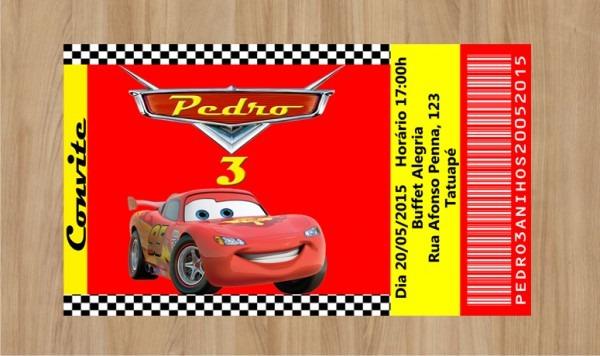 Convite Carros Disney 10x7cm No Elo7