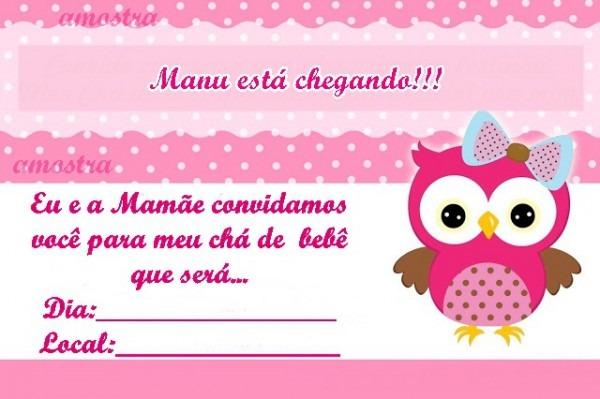 Convite Chá De Bebe Coruja No Elo7