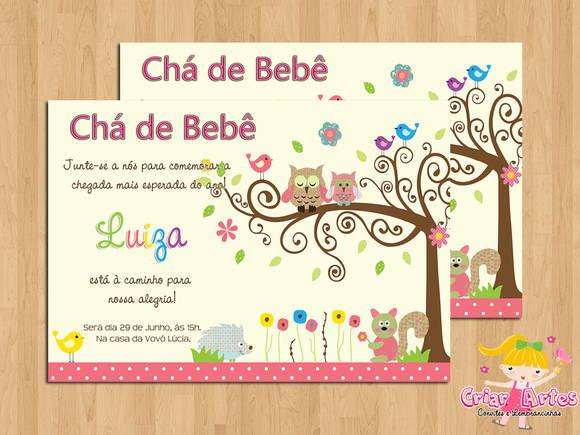 Convite Chá De Bebê Corujinha Árvore No Elo7