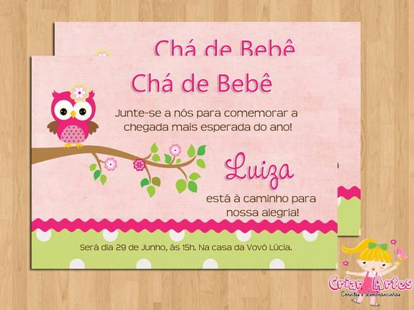 Convite Chá De Bebê Corujinha Menina No Elo7