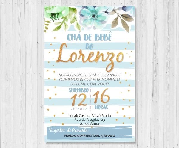 Convite Cha De Bebe Flores Dourado E Azul Digital No Elo7