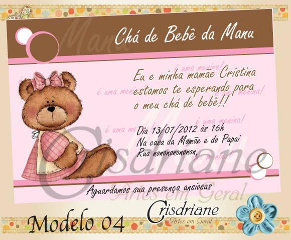 Convite Chá De Bebê Marrom E Rosa No Elo7