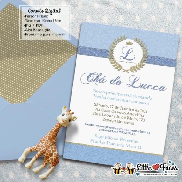 Convite Chá De Bebê Provençal Príncipe No Elo7