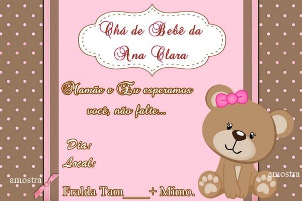 Convite Chá De Bebe Rosa No Elo7