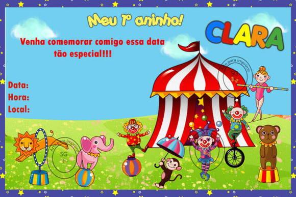 Convite Circo 2 No Elo7