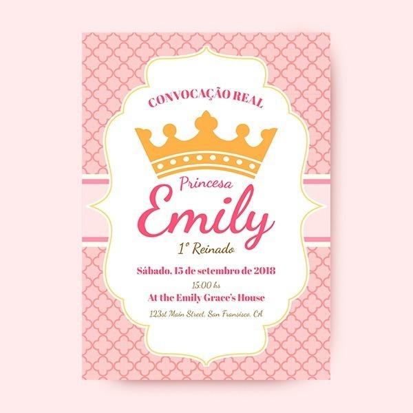 Convite De 1 Ano Princesa Coroa Online