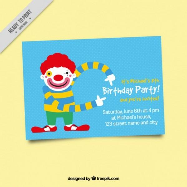 Convite De Aniversário Com Palhaço