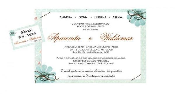 Convite De Bodas De Diamante – Modelos De Convite