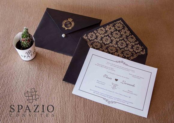 Convite De Casamento Arezzo Marrom E Dourado
