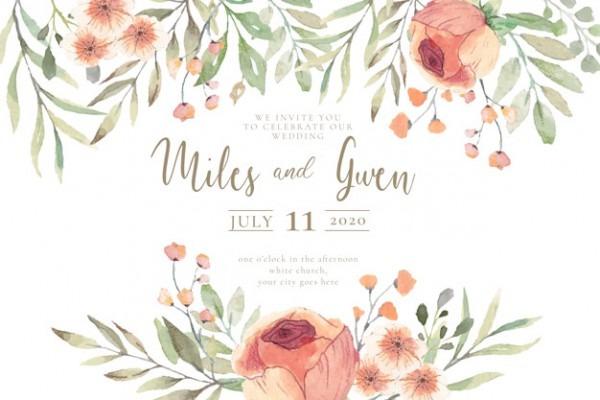 Convite De Casamento Com Flores De Aquarela Pronto Para Imprimir