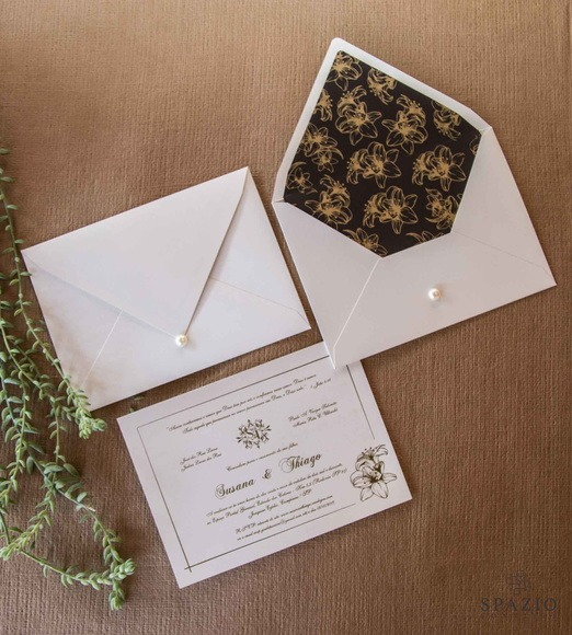 Convite Marrom Com Dourado