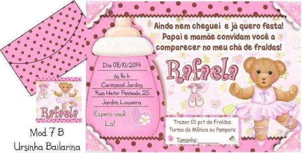 Convite De Chá De Bebê Bailarina  18 Modelos! – Modelos De Convite