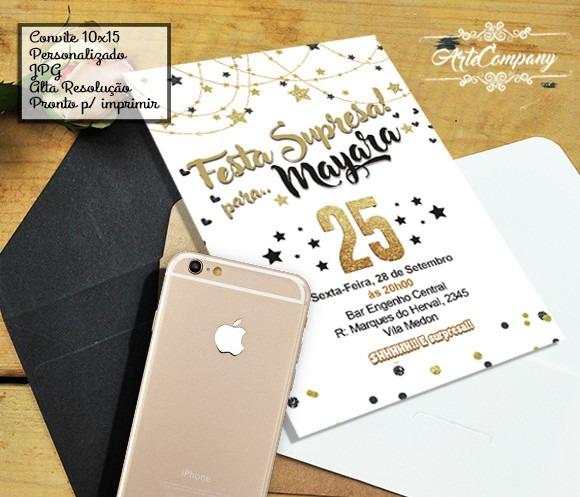 Convite Aniversário Festa Surpresa No Elo7