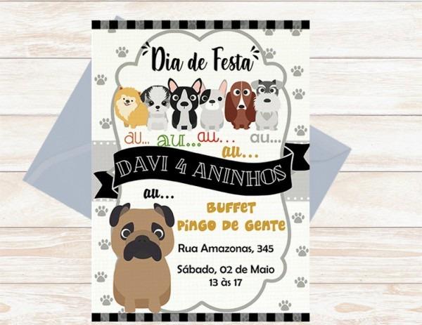 Convite Digital Tema Cachorro Aniversário Infantil No Elo7