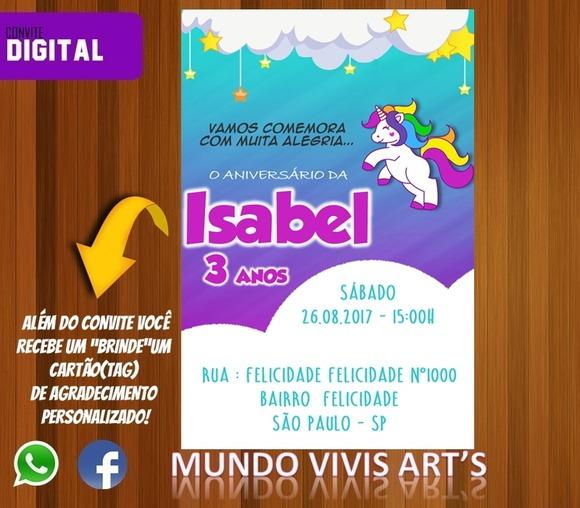 Convite Digital Tema Unic Rnio Elo7 – Name