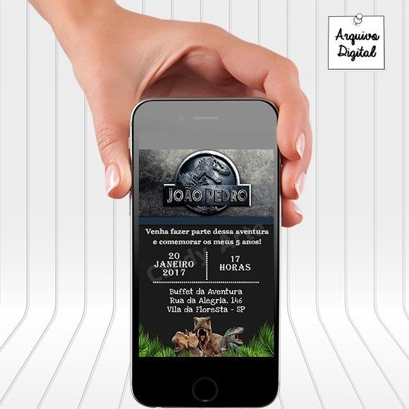 Convite Digital Virtual Jurassic Park Jurassic World