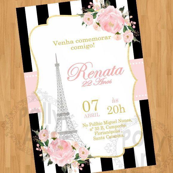 Convite Digital Virtual Torre Eiffel Paris Floral