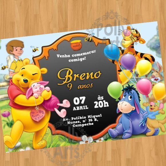 Convite Digital Virtual Ursinho Pooh
