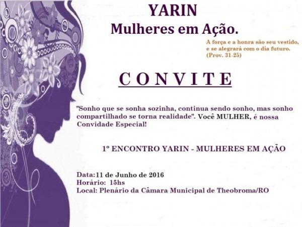 Convite  1º Encontro Yarin Em Theobroma – Mulheres Em Ação